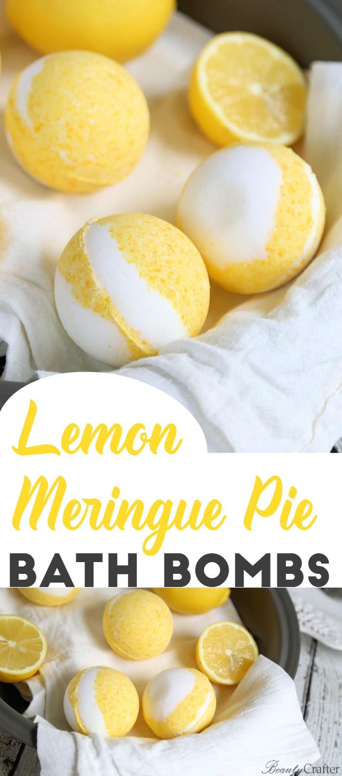 Lemon Meringue Pie bath Bombs - DIY Vanilla lemon bath bomb recipe that smells so delicious!