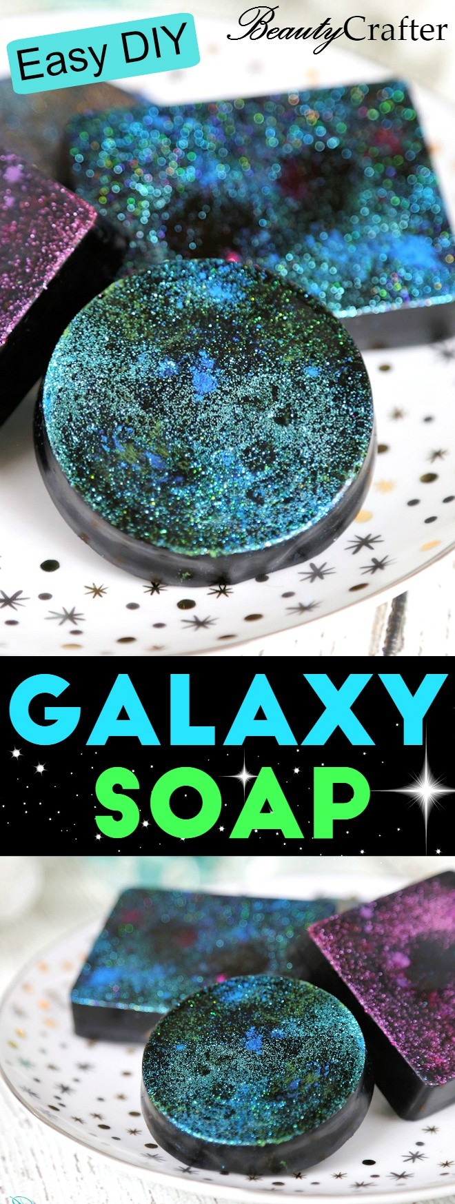 Activated Charcoal Soap Recipe plus easy directions to make it DIY Galaxy Soap #soap #soapmaking #activatedcharcoal #charcoalsoap #blacksoap