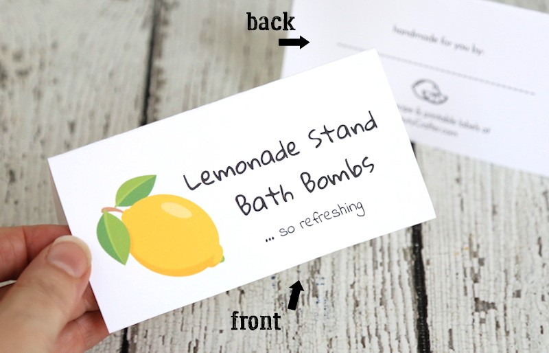 Lemon Bath Bomb Labels