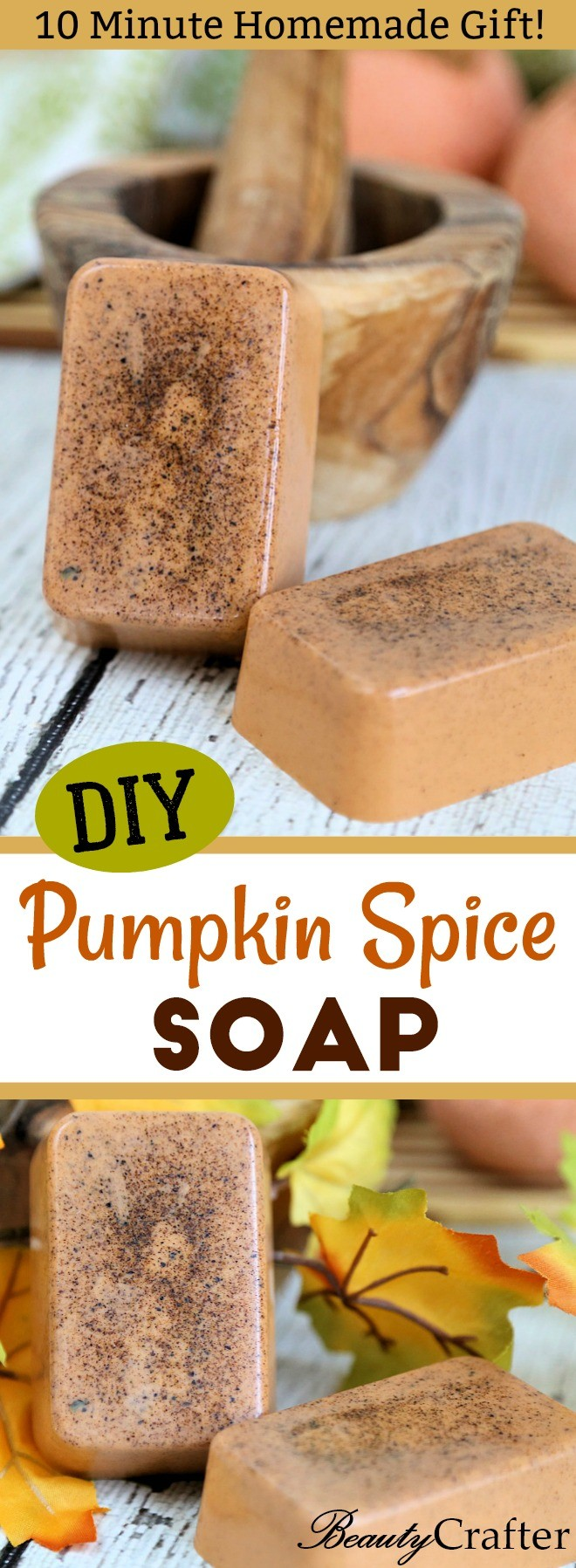 Pumpkin Spice Soap DIY Recipe - Easy Fall Craft that makes a great gift.