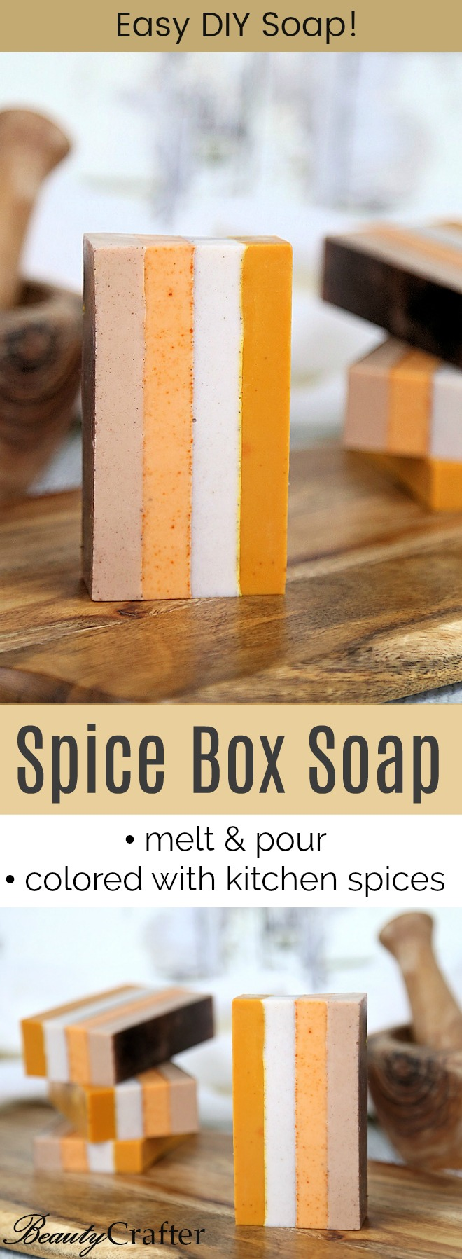 DIY Spice Soap Melt and Pour soap Striped with Natural colors from kitchen spices.