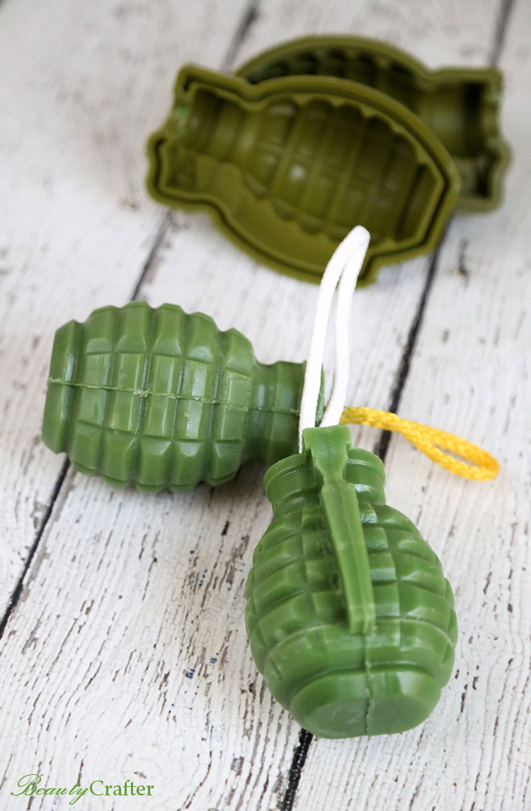 diy grenade soap on a rope