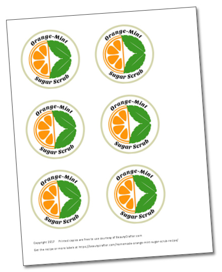 free printable sugar orange mint scrub labels