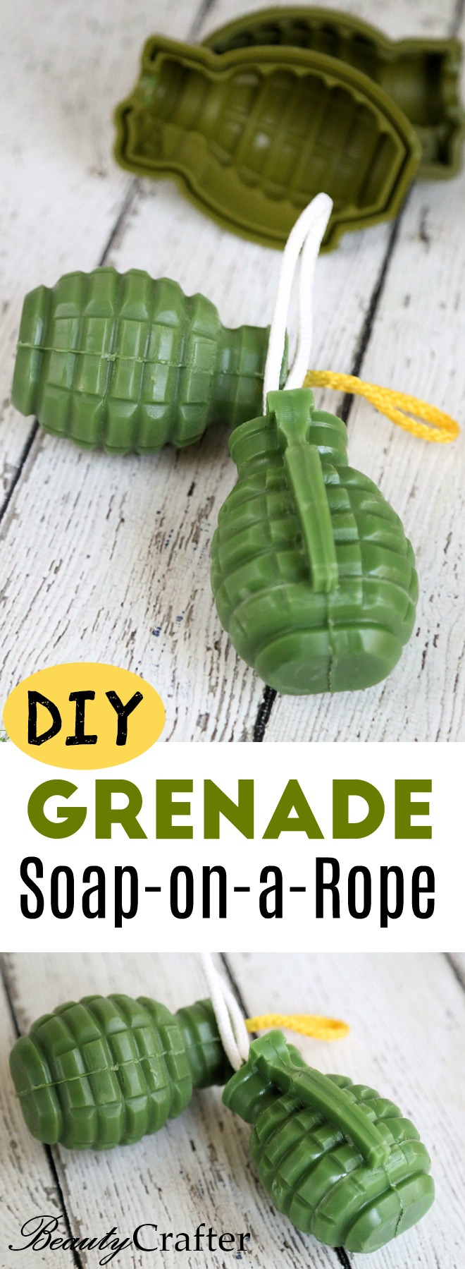 Grenade Soap on a Rope DIY - Easy Homemade gift for men.