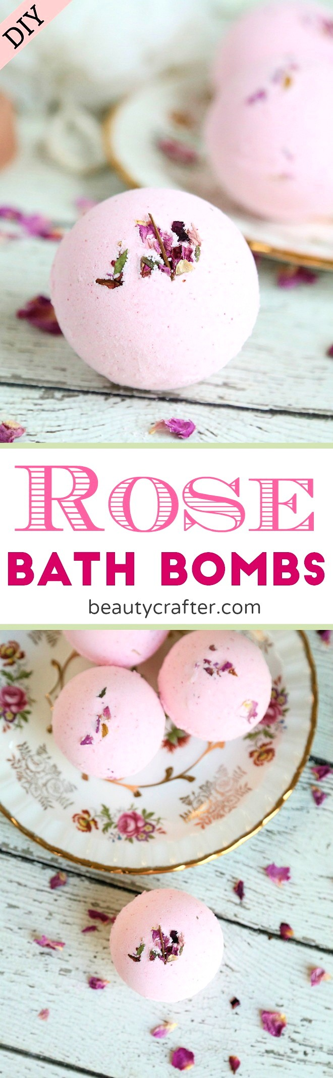 DIY Rose Bath Bombs recipe #bathbombs #rose #roses #romance #bridal #valentines