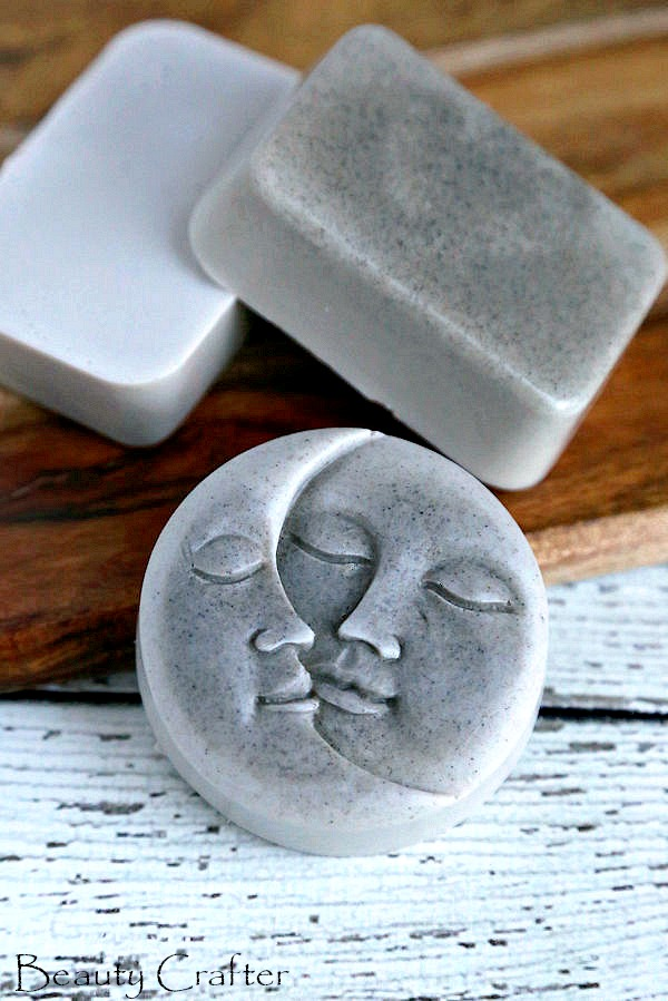 clay soap made in moon soap mold