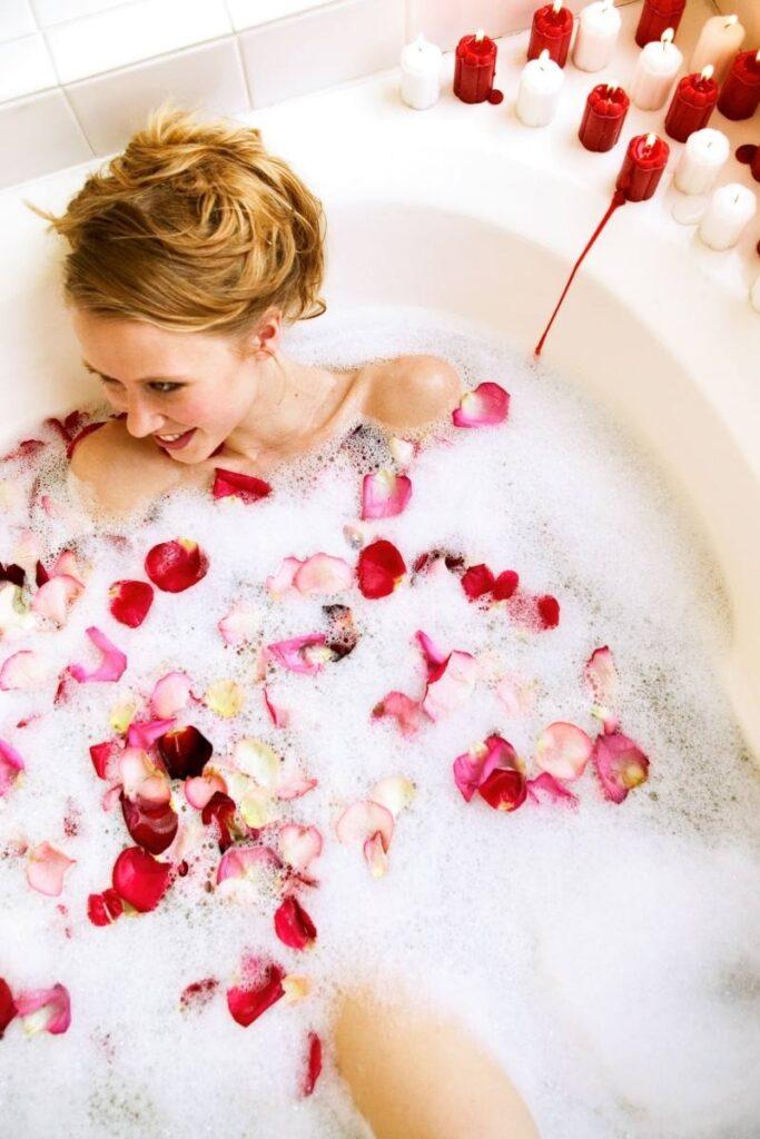Romantic Bubble Bath with rose petals