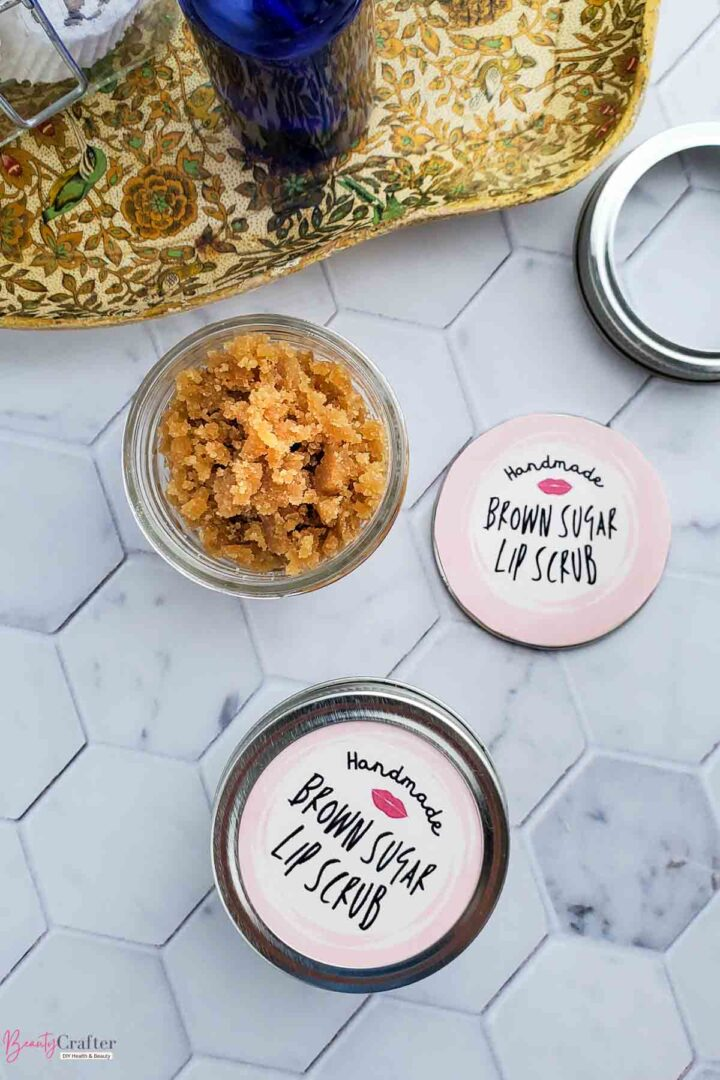 homemade lip scrub in jars with printed labels