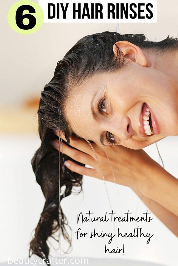 DIY hair rinses with woman using a hair rinse.